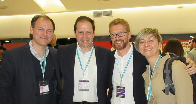 Spanish Movistar  at MIPDramas: Nicolás Lecoq, manager, analysis and business division, Ismael Calleja Baldominos, head of business affairs, Sergio Oslé, president, and Eva Soto Gómez, communication manager