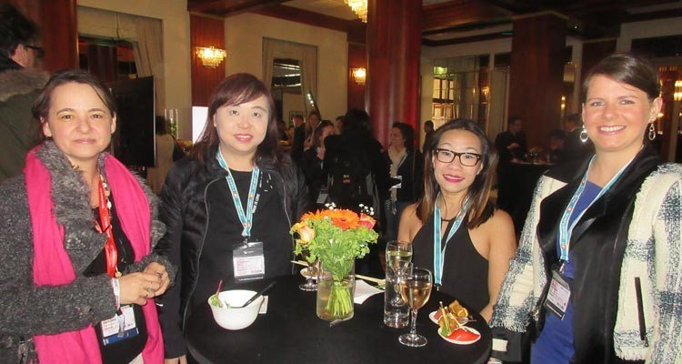 The MIPDrama Lunch, hosted by CCTV (China): Anne Sérode, senior director from TV5 (Canada), with Josephine Ong, senior manager acquisition, and Michelle Chang, lead content, both from Mediacorp (Singapore), and Maria Kivinen, from Yle (Finland)