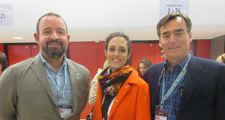 Viktoria Wasilewski, senior content acquisition manager at Amazon Video Italy, with Alejandro Sacasa, director content acquisitions, Juan Ignacio Barrera, head of acquisitions department, both from Albavision (USA)