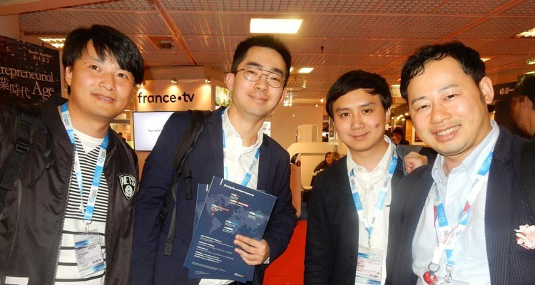 Asian buyers: Jinguang Zhu, director of creative, Yi Chi, research and acquisitions, and Wang Bo, content acquisitions, all from JSBC China, with Nori Nakano, non scripted formats acquisitions, Nippon TV Japan