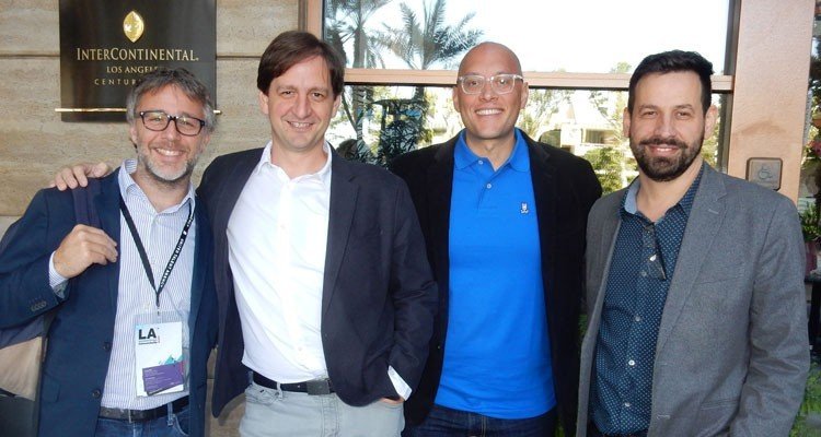 Pablo Iacoviello, head of content acquisitions, y Francisco Morales, content acquisitions, ambos de Amazon Prime Video (centro), junto a Julián Rousso, presidente de Anima Films, y Mariano César, VP
