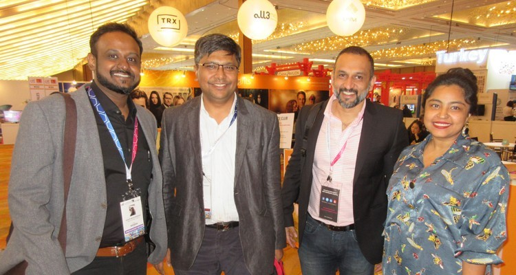 Indian OTT platforms: Aaron Mascarenhas, acquisitions and licensing, and Mansi Shrivastav, head of acquisitions, Times Internet/MX Player (borders) with Aditya Ray, executive director, Crest Advantage and Ali Hussein, COO, Eros Now