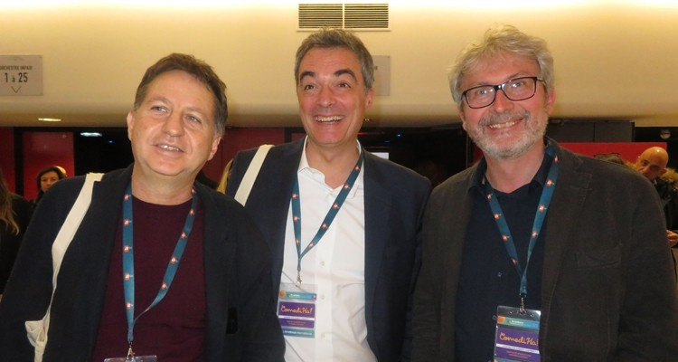 Mediaset Italy at MIPDrama: Marco Leonardi, managing director, acquisitions, Andrea Piazza, acquisitions manager, and Giorgio Giovetti, deputy head of acquisitions