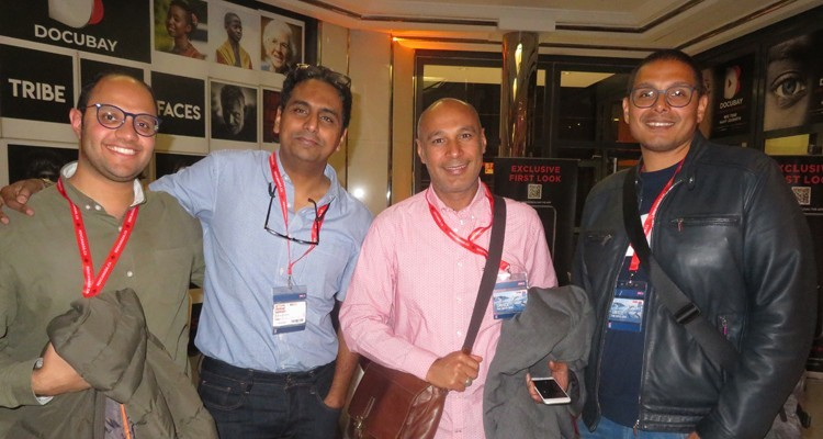 Buyers from Al Jazeera (UAE) at MIPDoc: Mustafa Radwan, screener, Ashraf Abbas, from Foodlooking (India), Anas Abd Al-Wahab Khalawy, executive producer, and Mohamed Farag Ahmed Elmongy, Senior Commissioning