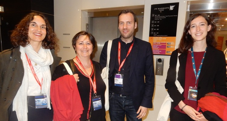 French buyers at MIPDoc: Caroline Behar, head of documentaries, France 5/France Televisions, Sophie Parrault, producer, Little Big Story, Samuel Kissous, president, and Espérance du Peloux, international development coordinator, Pernel Media