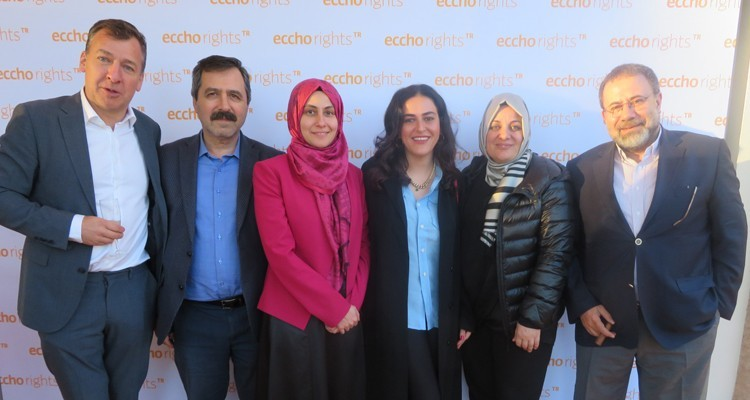 "Eccho Rights with Kanal 7 Turkey: Fredrik af Malmborg, MD (ER); Mustafa Çelik, member of the executive committe, and Yesim Hanim, head of acquisitions, Kanal 7; Handan Özkubat, head of Eccho Rights Istanbul office; Nazmiye Yilmaz, producer Karamel Yapim, and Zahid Akman, GM, Kanal 7. ER launches this MIPTV ""The Promise"", its brand new Turkish drama"