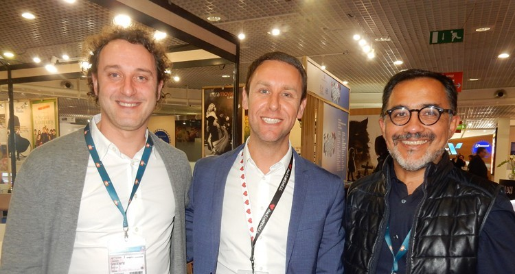 Latin America: Juan Ignacio Vicente, international content manager, and Patricio Hernandez, CEO, both from Mega (Chile), with Guillermo Borensztein, VP content sales and head of coproductions Viacom Studios International