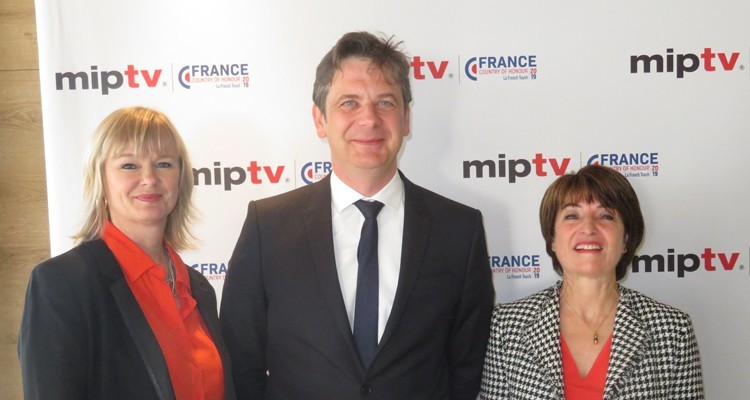 Reed Midem's team at the 'Opening Press Conference': Lucy Smith, recently appointed deputy director of TV division, Laurine Garaude, director TV division, and Jérôme Delhaye, Entertainment Director