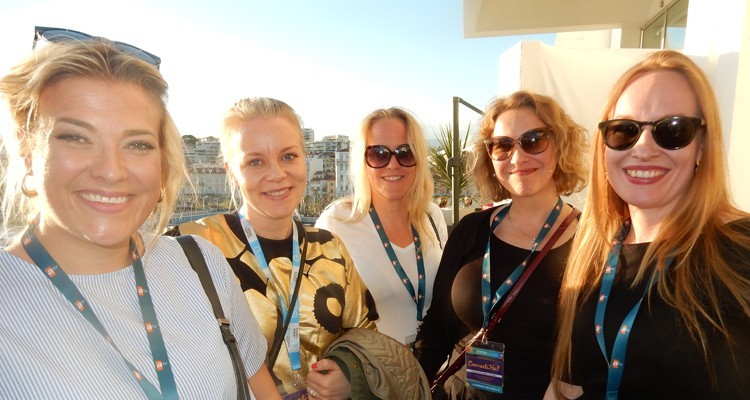 Finnish buyers and producers at Red Arrow: Emilia Valentin, development producer, Yellow Films, Meira Noronen, head of domestic programming, Nelonen Media, Ana-Maria Meurman, producer, and Suvi Oja-Heiniemi, head of entertainment, both from Yellow Film, Maarit Souminen, executive producer at Nelonen Media, and Sarah Walker, from Red Arrow