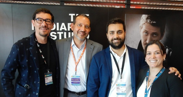 The Mediapro Studio (Spain) has its official launch at this MIPTV: Alejandro Florez, director, 100Balas; Guillermo Sierra, head of TV and digital services at HITN (USA), Miguel Garcia, sales manager at Imagina, and Erika Vogt-Lowell, director programming acquisitions at HITN