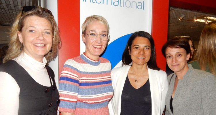 French buyers at TV France International cocktail: Sandrine Frantz, director at Lukarn (France), Sarah Hemar, executive director at TVFI, with Francoise Guyonnet, managing director TV series, and Stephanie Bro, SVP marketing, both from Studiocanal