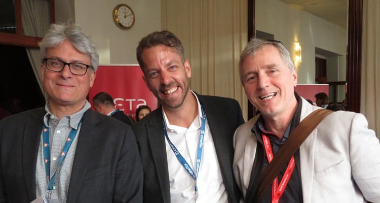Canada at the Beta Film brunch: Nicola Merola, president at media company Pixcom, Pablo Zalsman, president at the production company Connect 3, and Michel Pelletier, content acquisition director, Radio-Canada