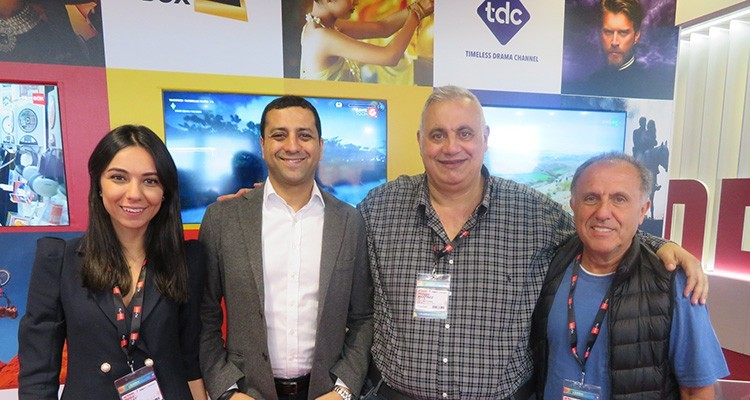 Loni Farhi, CEO (first from the left) of SPI International, with Philippe Martinez, movie producer, 365 Flix and SPI/FilmBox chief marketing officer Haymi Behar, and Hatice Olcay, director international markets