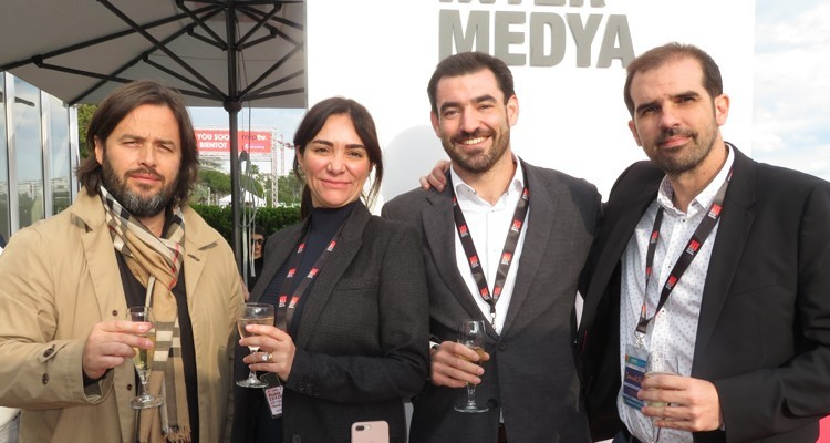 Mihail Menkadjiev, executive producer, Emilio Amaré, CEO and Alvaro Benitez, business development, all from Plano a Plano, one of the top Spanish production companies, with Beatriz Cea Okan, from InterMedya (Turkey)
