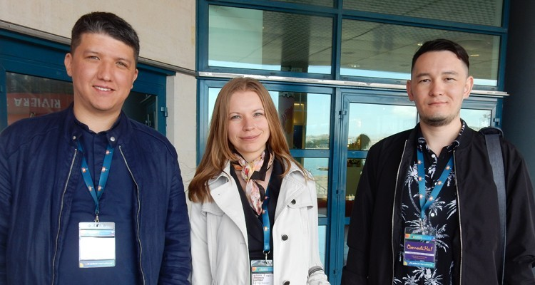 Buyers from Hit TV Channel Kazakhstan: Ravil Abdullin, chief producer, Eleonora Larina, interpreter, and Sultan Mollayev, radio and TV program director