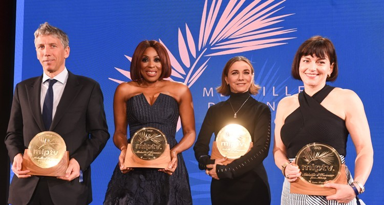 "The ""Medailles D'honneur"": Stephane Courbit, Chairman at Banijay Group (France); Mo Abudu, Chairman and CEO at Ebonylife Media (Nigeria); Ilene Chaiken, screenwriter; and Jane Millichip, managing director at Sky Vision (UK)"