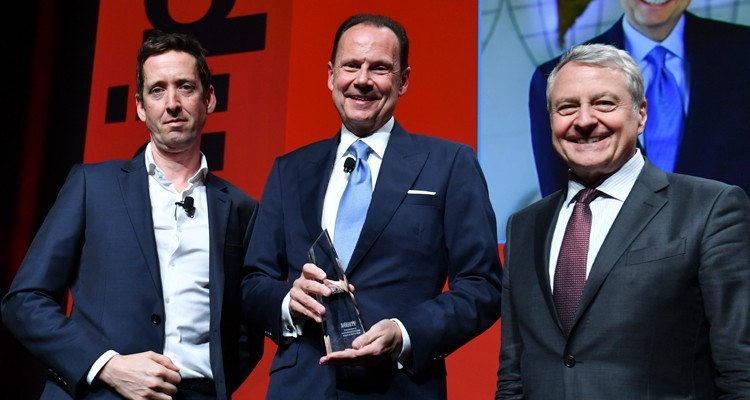 Armando Nuñez, president and CEO at CBS Group (USA), received Variety's 'International Achivenet in TV Award' at MIPTV: Stewart Clarke, Variety, Armando Nuñez and Paul Zilk, CEO at Reed Midem