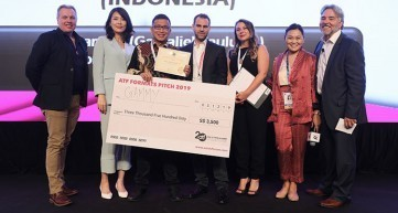 Gamaliel Paulus S. (third from left) with onstage judges at the ATF Formats Pitch prize presentation ceremony