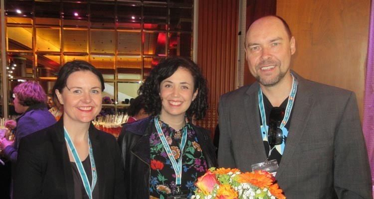 Nicola Hewitt, programming manager, Viasat (UK), with Bridget Ryan, acquisition manager, scripted, and Peter Andrews, head of network programming, both from SBS Australia