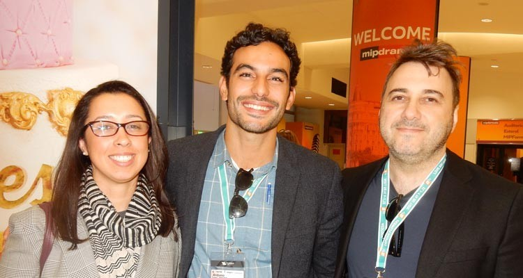 Latin Pay TV buyers: Ariana Myers, content and programming, DirecTV Latin America, with Antonio Augusto Vaekente, content research, and Alex Medeiros, director, content acquisitions, both from Globosat (Brazil)