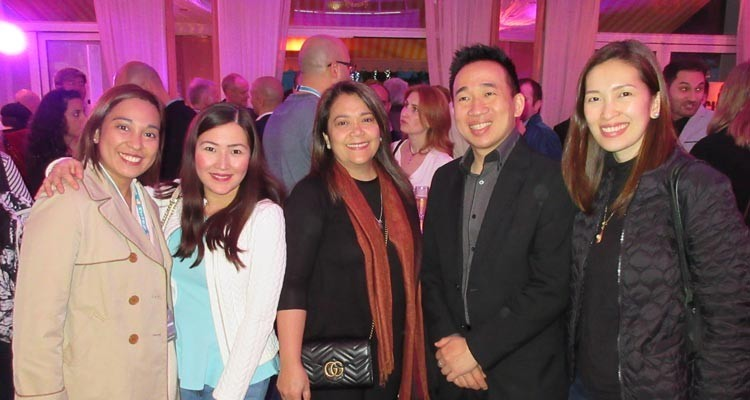 """ABS-CBN, The Philippines at Eccho Rights' cocktail party: Wincess Lee – Gonzalez, program acquisitions officer, Cecile Sumabat, acquisitions officer, Cecilia """"Macie"""" Imperial, VP, Program Acquisitions and Distribution, and Pia Laure, head of distribution, with Nixon Yau Lim, head of APAC, Eccho Rights"""