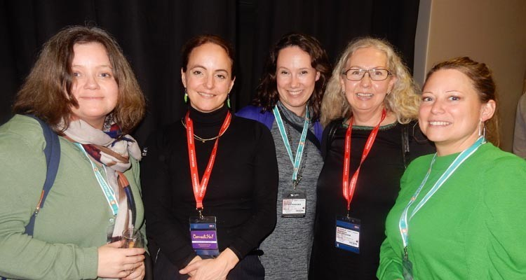 At the TV France International cocktail: Micaela Boklund, acquisition executive, Swedish Film; Magdalena Lofstrom, acquisitions, Swedish education broadcasting company, UR; Joanna Zawistowska, programming manager of NC  (Poland); Susanne Folkesson, acquisitions, UR; and Sandra Ortiz, Swedish Film