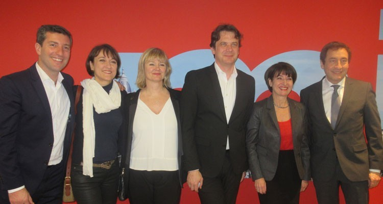 Reed Midem's team at the 'Wrap Press Cocktail': Laurine Garaude, director TV division, Geraud De Lacombe, sales director of TV division, Bénedicte Touchard, director of buyers department, Lucy Smith, conference director, Jerome Delhaye, director of entertainment, and Ted Baracos, director MIPCancun